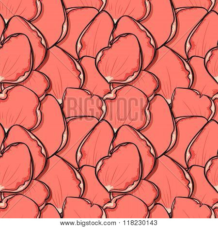 Fashionable design background with pink rose petals in sketch style