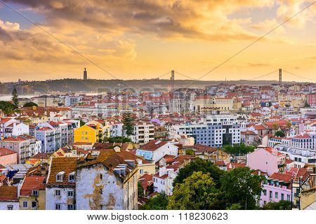 Lisbon, Portugal skyline at sunse