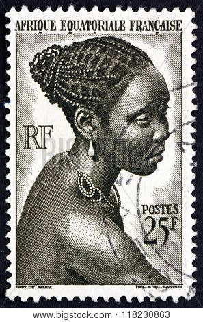 Postage Stamp French Equatorial Africa 1946 Young Bacongo Woman