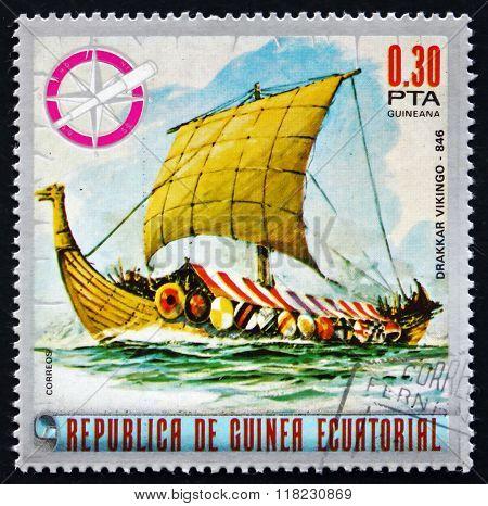 Postage Stamp Equatorial Guinea 1975 Drakkar, Viking Ship