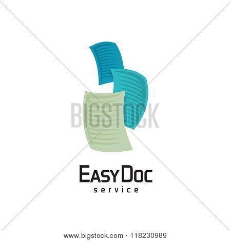 Docs Logo. Flying Sheets Of Paper Illustration.