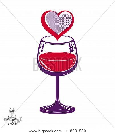 Valentines day theme vector illustration. Design wineglass with loving heart romantic rendezvous concept lifestyle and leisure.