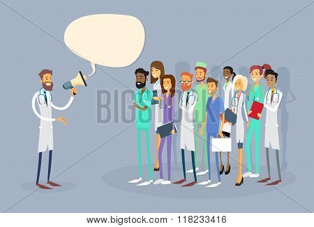 Medical Doctor Hold Megaphone Loudspeaker Group Team White Chat Bubble Copy Space