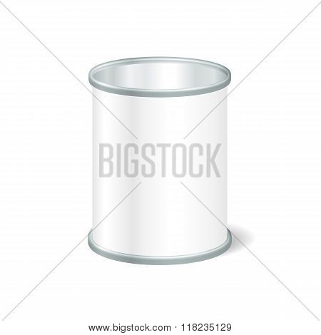 Realistic Blank Open Tin For Canned Food, Preserve, Conserve. Mo