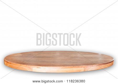 Empty Round Wooden Table Top