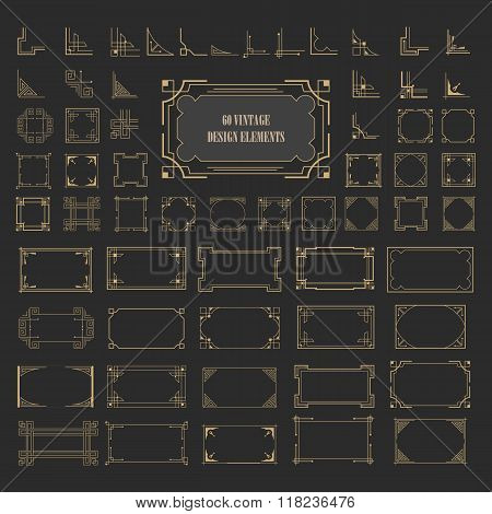 Vintage retro frame borders corners set