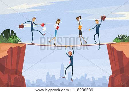 Businesspeople Group Unstable Shaking Over Cliff Team Problem Business People Risk Concept