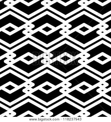 Black and white abstract textured geometric seamless pattern. Symmetric monochrome vector textile backdrop. Splicing lines. poster