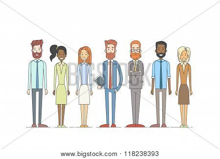 Business People Cartoon Character Set Full Length Man Woman Collection
