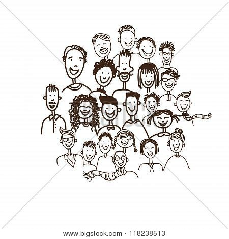 Doodle Simple Casual People Group
