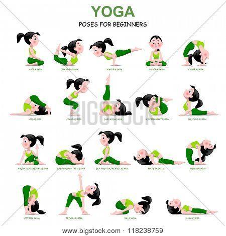 Cartoon girl in Yoga poses with titles for beginners isolated on white background. Yoga Poses Infographic Elements with captions. Vector illustration.