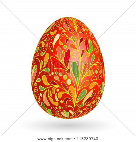 Colorful easter egg with ornate doodle floral decoration. Colorful floral pattern on red egg.
