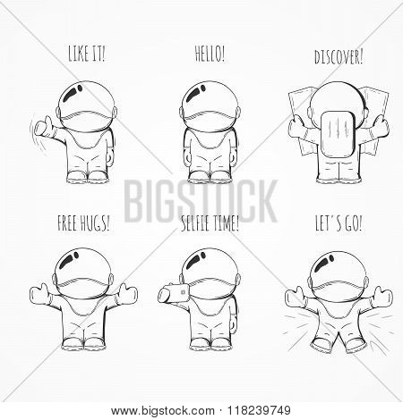 Set of Hand drawn cartoon astronaut in space suit. Line art cosmic vector illustration poster