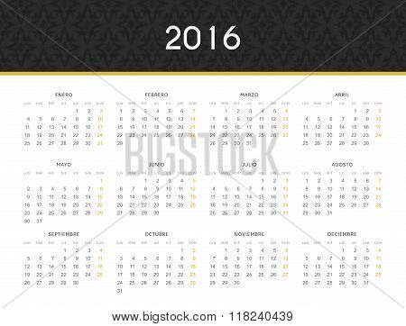 Simple modern calendar 2016 in Spanish. Ready for print design