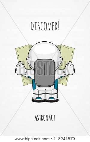 Hand drawn cartoon astronaut in spacesuit back view. Line art cosmic vector illustration cosmonaut look at the map looking for something. Concept space travel spaceflight navigation on terrain poster