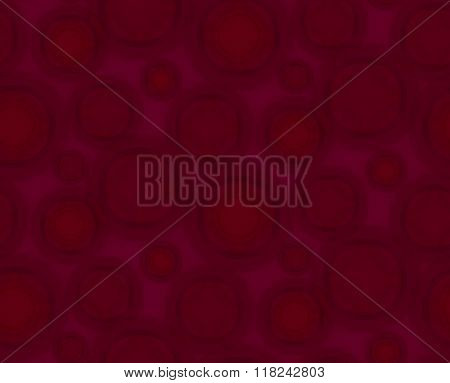 Dark Crimson Seamless Pattern With Round Shapes.