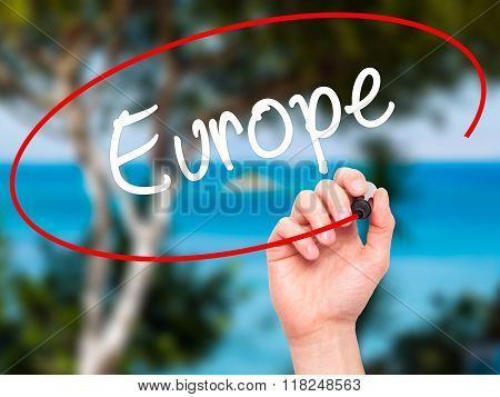 Man Hand Writing Europe With Black Marker On Visual Screen