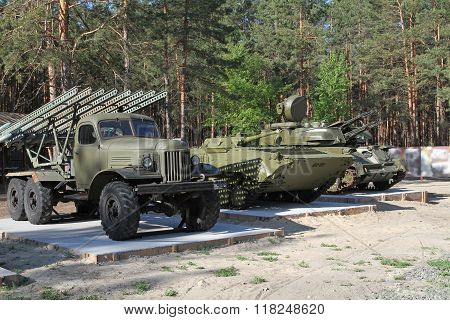 February 23 Is Celebrated In The Russian Federation As The Day Of All Men. Military Vehicles Parked