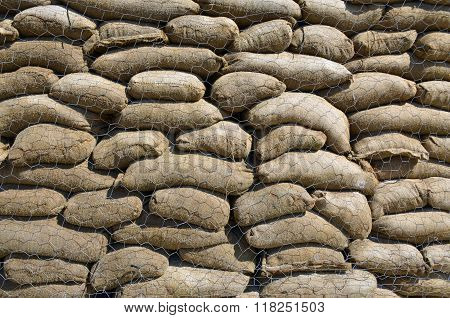 A wall of sand bags