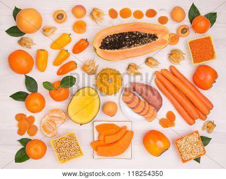 Orange fruit and vegetables containing plenty of beta carotene