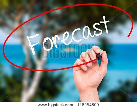 Man Hand Writing Forecast With Black Marker On Visual Screen