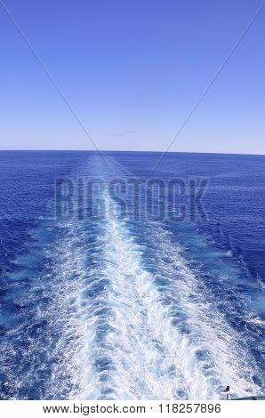 Ship's Wake Trails to the Horizon