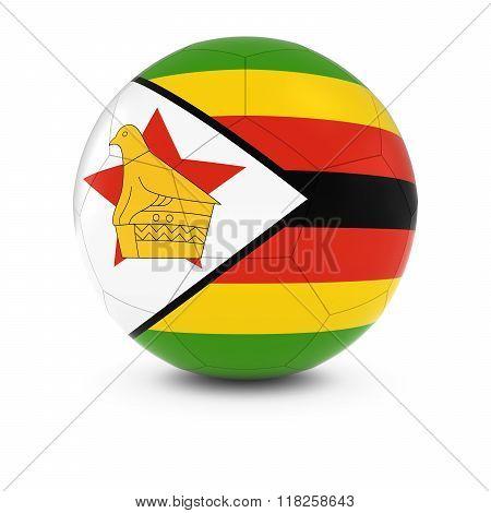 Zimbabwe Football - Zimbabwean Flag on Soccer Ball - 3D Illustration