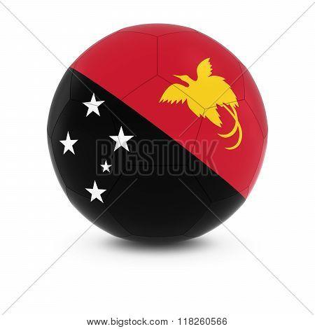 Papua New Guinea Football - Papuan Flag on Soccer Ball - 3D Illustration