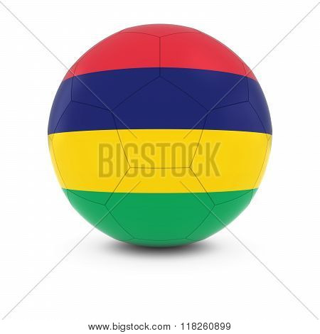 Mauritius Football - Mauritian Flag on Soccer Ball - 3D Illustration