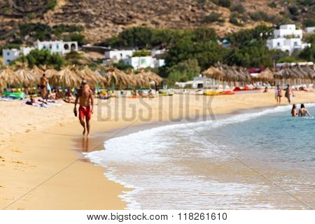 View Of The Beaches Of Greek Island Of Ios Island, Cyclades, Greece. Ios Is Well Known As The Party