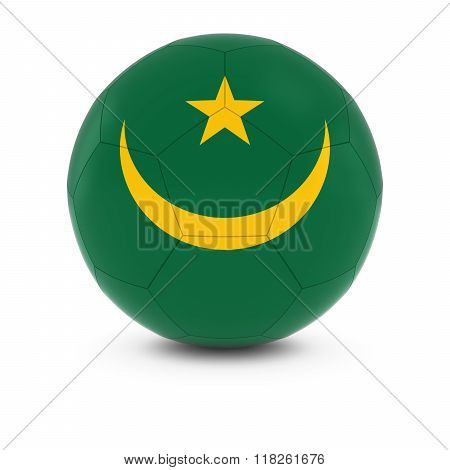 Mauritania Football - Mauritanian Flag on Soccer Ball - 3D Illustration
