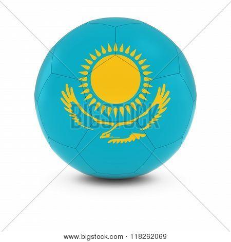 Kazakhstan Football - Kazakhstani Flag on Soccer Ball - 3D Illustration