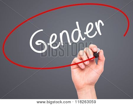 Man Hand Writing Gender  With Black Marker On Visual Screen