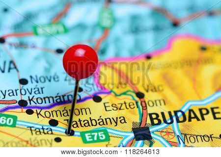 Tatabanya pinned on a map of Hungary