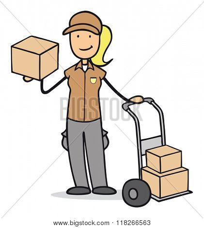 Smiling cartoon woman as parcel delivery service with boxes