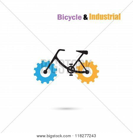 Bicycle Logo Design Vector Icon And Gear Sign.bicycle Rider Silhouette Sign.business And Industrial