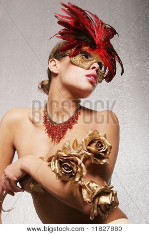Sexy girl with red mask poster