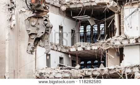 Building Demolition By Machinery For New Construction.