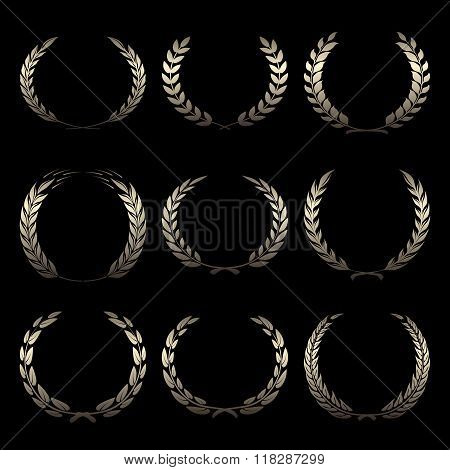 Vector gold award wreaths, laurel on black background