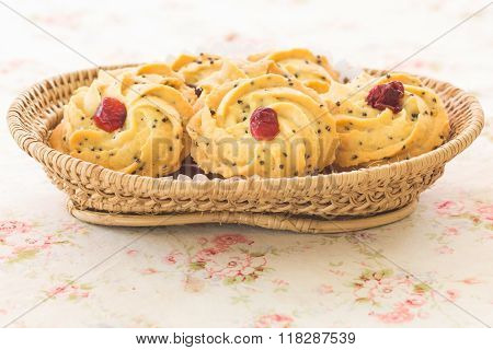 pile of cookies with dry cranberry and sesame poster