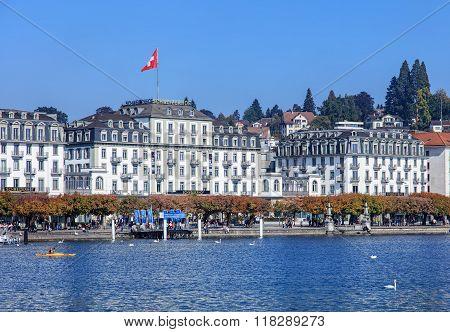 Schweizerhofquai Quay In Lucerne, Switzerland