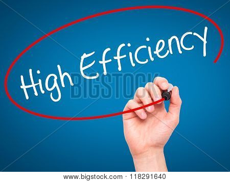 Man Hand Writing High Efficiency  With Black Marker On Visual Screen