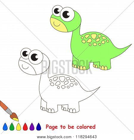 Brontosaurus cartoon. Page to be colored.