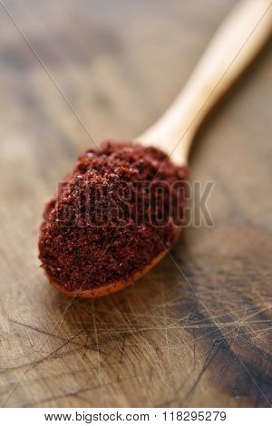 Middle Eastern spice Sumak in a wooden spoon. Selective focus on the spice poster