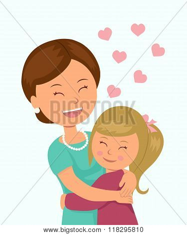 Daughter hugging her mother. Isolated characters in the embrace of a mother and her daughter on a wh