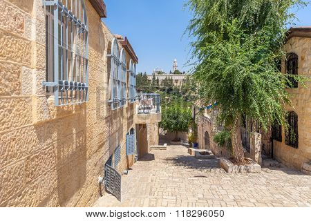 Street and houses of Mishkenot Shaananim neighborhood in Jerusalem, Israel.