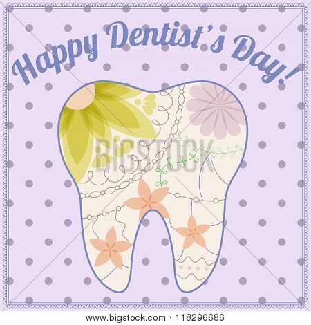 vector happy dentist day card with tooth silhouette vintage