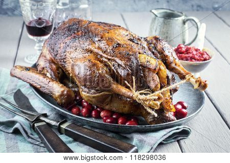 Roast Goose with Potatoes, Apple and Quince