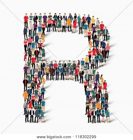 group  people  shape letter R vector