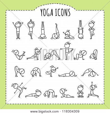 Hand drawn yoga poses. Yoga asanas. Gymnastics exercises, stretching and meditation. Healthy lifesty